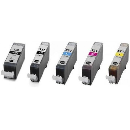 Set of 5 Compatible Canon PGI-520, CLI-521 Ink Cartridges FULLY CHIPPED.